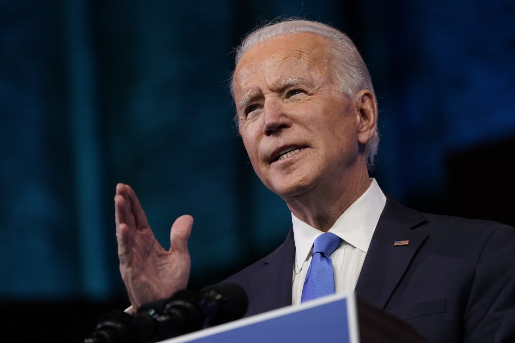 President-elect Joe Biden speaks after the Electoral College formally elected him as president, Monday, Dec. 14, 2020, at The Queen theater in Wilming...