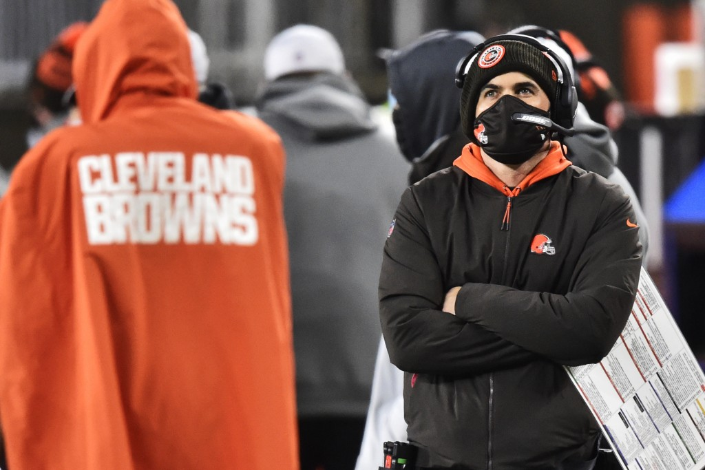 Cleveland Browns head coach Kevin Stefanski watches late during the second half of an NFL football game against the Baltimore Ravens, Monday, Dec. 14,...