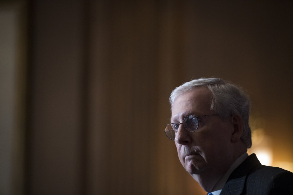 Senate Majority Leader Mitch McConnell of Ky., speaks during a news conference with other Senate Republicans on Capitol Hill in Washington, Tuesday, D...