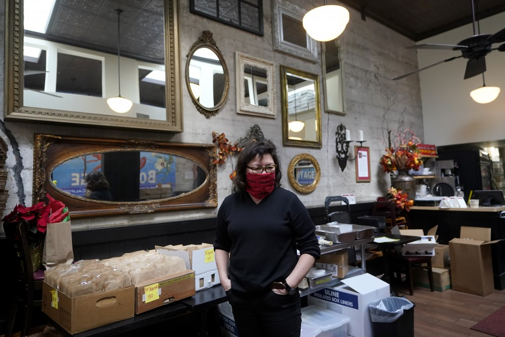 Chef Proprieter Brenda Buenviaje stands in her restaurant while interviewed at Brenda's French Soul Food in San Francisco, Wednesday, Dec. 9, 2020. In...