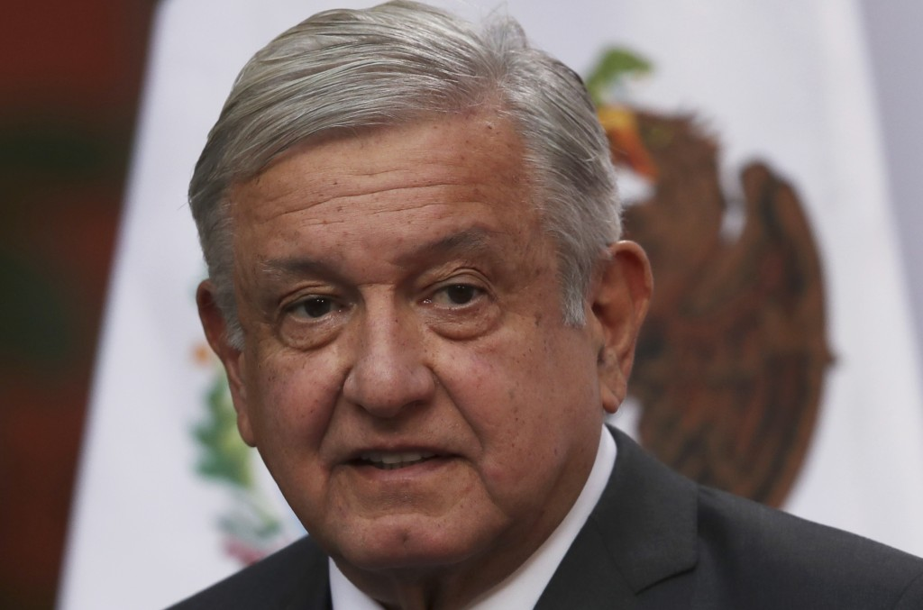 FILE - In this Dec. 1, 2020 file photo, Mexican President Andres Manuel Lopez Obrador speaks during the commemoration of his second anniversary in off...
