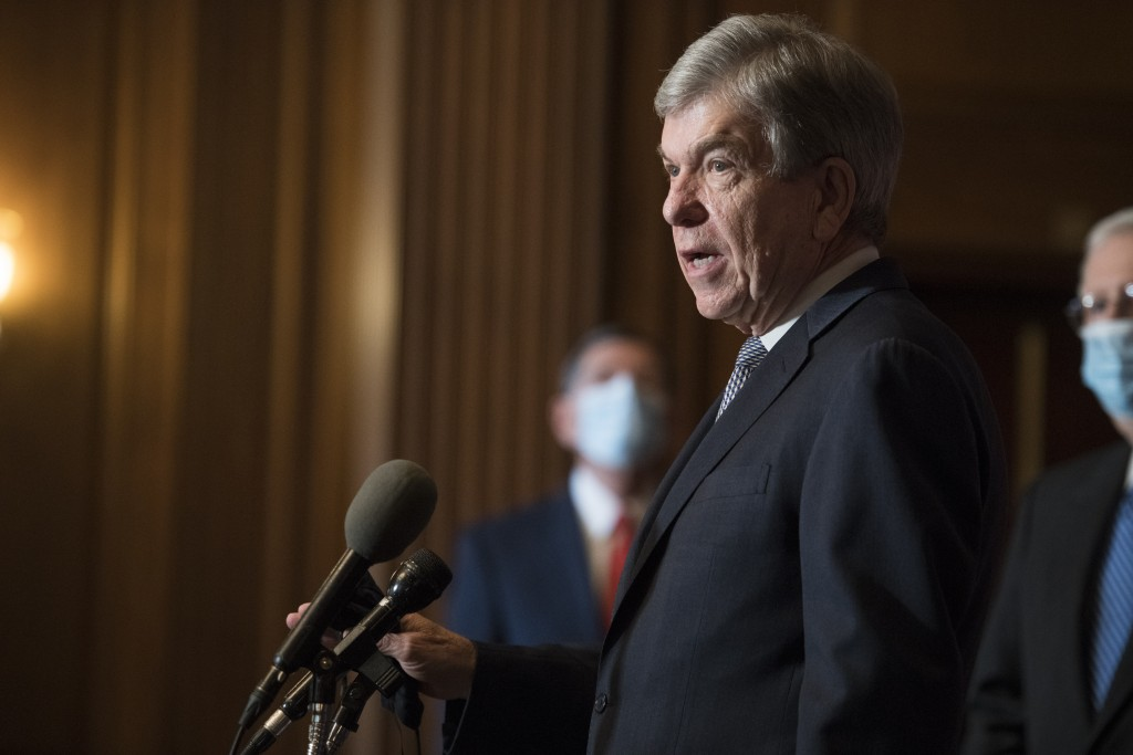 Sen. Roy Blunt, R-Mo., speaks during a news conference with other Senate Republicans on Capitol Hill in Washington, Tuesday, Dec. 15, 2020. (Rod Lamke...
