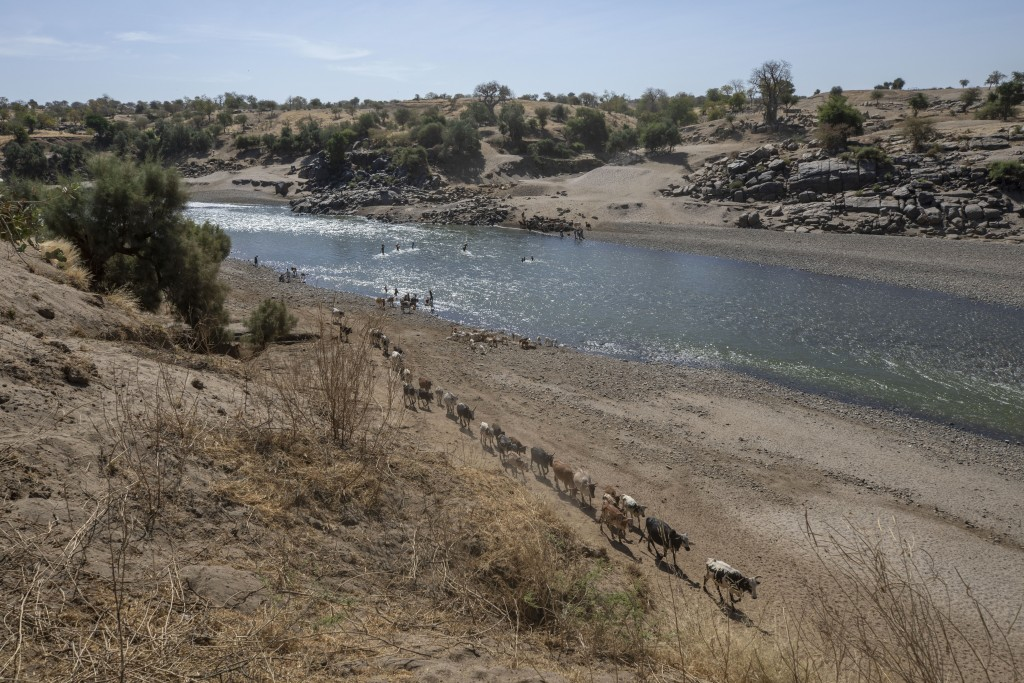 A general view of the banks of the Tekeze River, on the Sudan-Ethiopia border after Ethiopian forces blocked Tigrayan refugees from crossing into Suda...