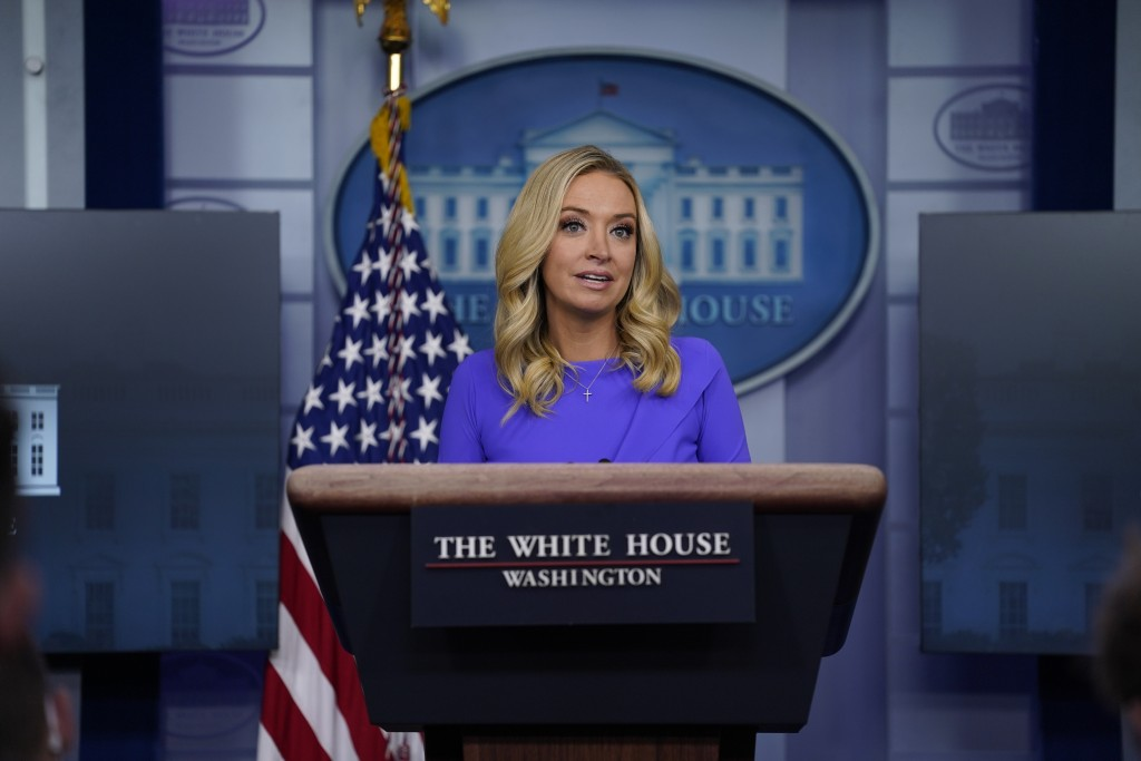 White House press secretary Kayleigh McEnany speaks during a press briefing at the White House, Tuesday, Dec. 15, 2020, in Washington. (AP Photo/Evan ...
