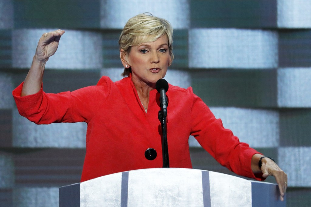 FILE - In this July 28, 2016, file photo, former Michigan Gov. Jennifer Granholm speaks during the final day of the Democratic National Convention in ...
