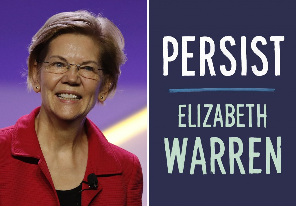 This combination photo shows Sen. Elizabeth Warren, D-Mass., at the 110th NAACP National Convention on July 24, 2019, in Detroit and the cover of her ...