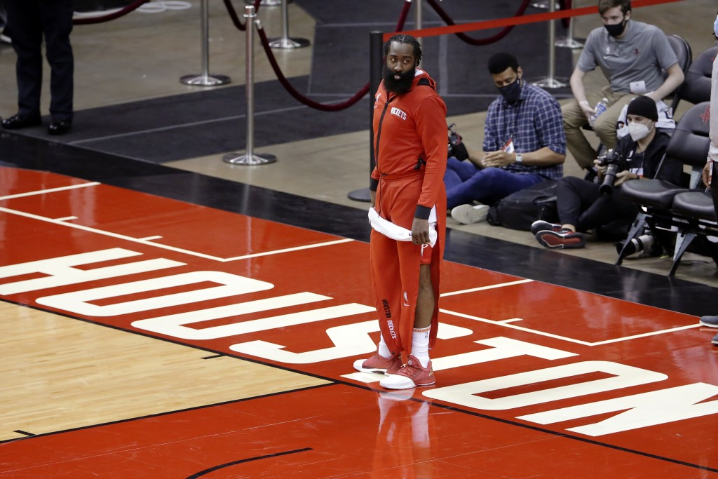 Houston Rockets guard James Harden leaves the court after their win against the San Antonio Spurs after an NBA basketball game Tuesday, Dec. 15, 2020,...