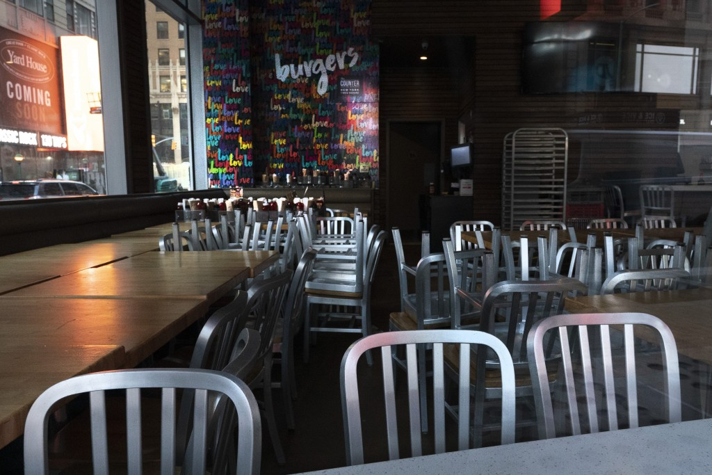The Counter restaurant is closed for indoor dining, Tuesday, Dec. 15, 2020, in New York. A ban on indoor dining at New York City restaurants was enact...