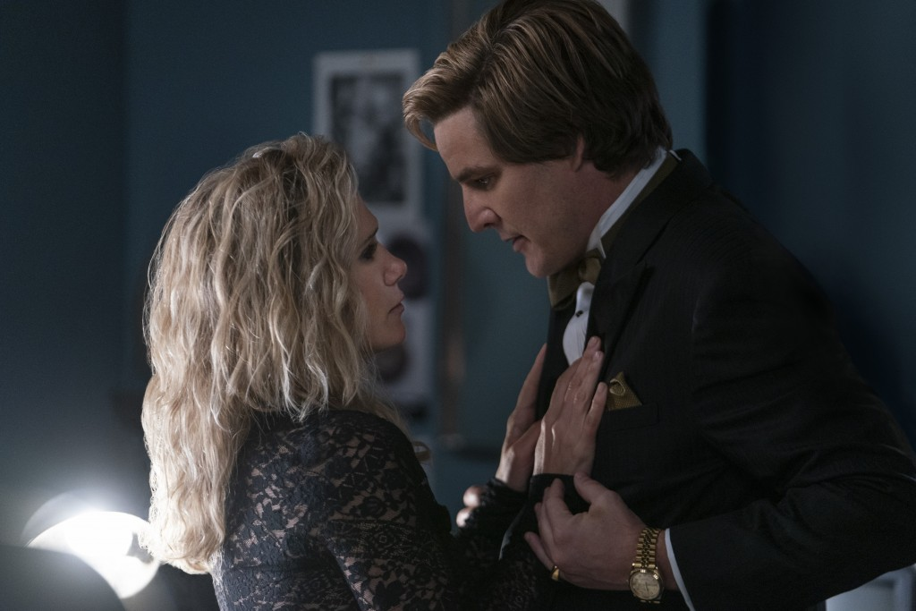 """This image released by Warner Bros. Entertainment shows Kristen Wiig, left, and Pedro Pascal in a scene from """"Wonder Woman 1984."""" (Clay Enos/Warner Br..."""