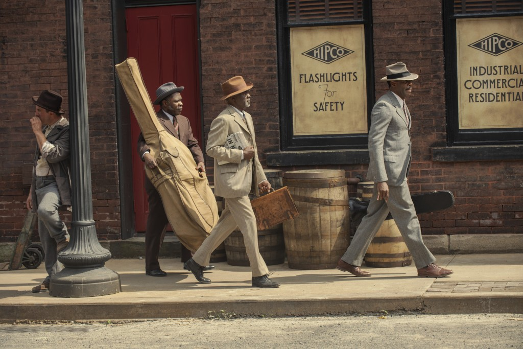 """This image released by Netflix shows Michael Potts, from left, Glynn Turman and Colman Domingo in """"Ma Rainey's Black Bottom."""" (David Lee/Netflix via A..."""