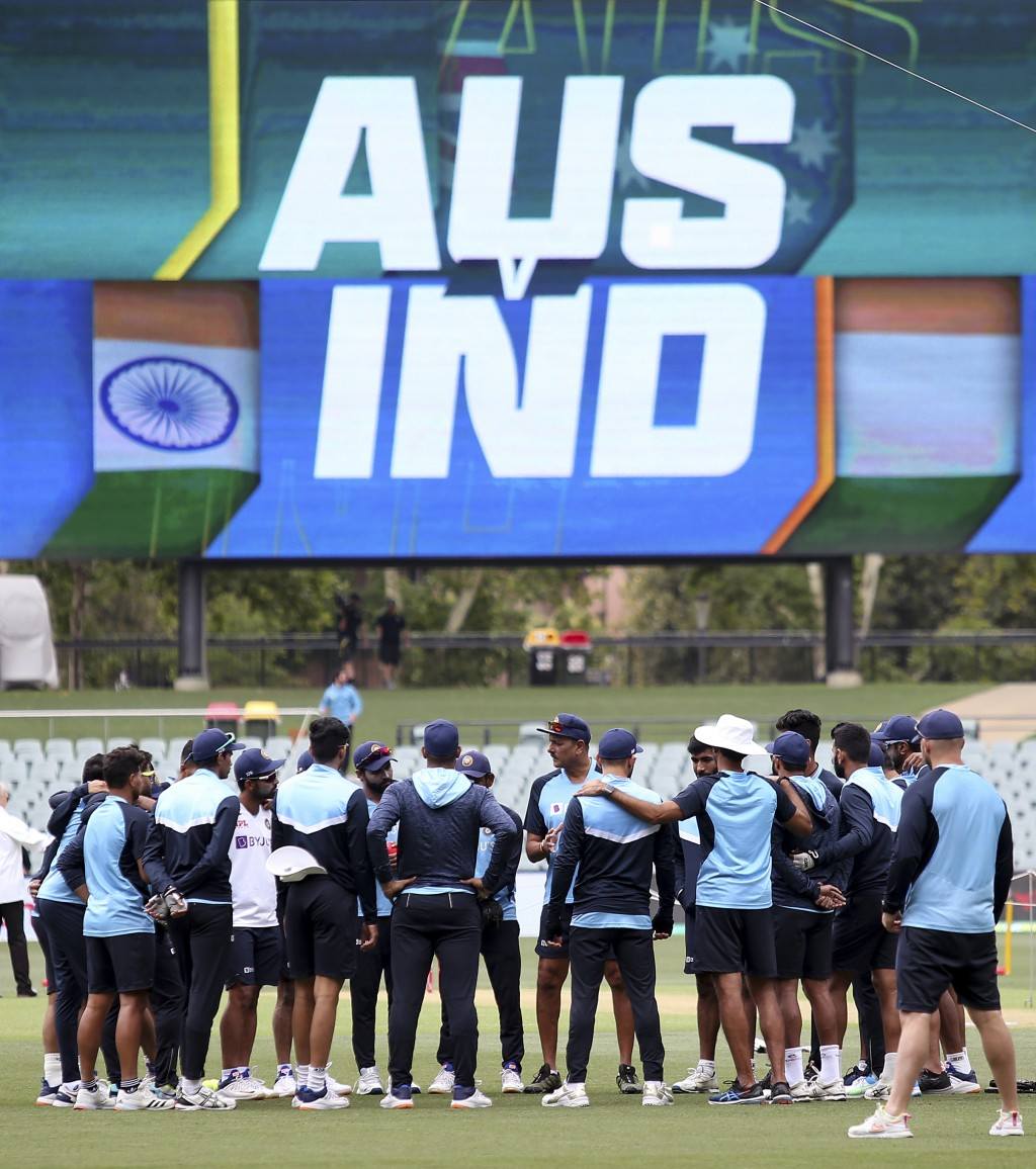 India's players huddle before their cricket test match against Australia at the Adelaide Oval in Adelaide, Australia, Thursday, Dec. 17, 2020. (AP Pho...
