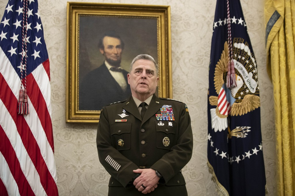 FILE - In this May 15, 2020 file photo, Joint Chiefs Chairman Gen. Mark Milley speaks during the presentation of the Space Force Flag in the Oval Offi...
