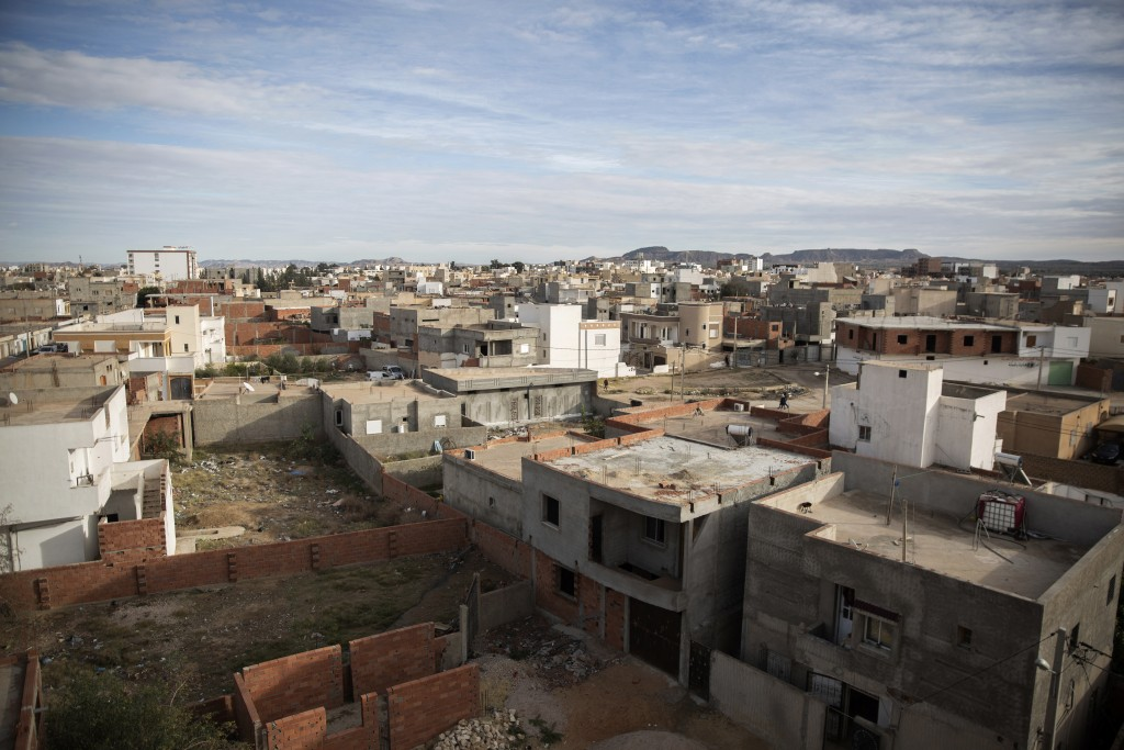 The Ennour district of Sidi Bouzid, Tunisia, is pictured Friday, Dec. 11, 2020. Hundreds of desperate Tunisians have set themselves on fire over the p...