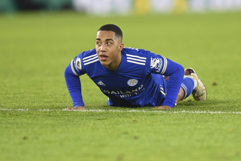 Leicester's Youri Tielemans reacts during the English Premier League soccer match between Leicester City and Everton at the King Power Stadium in Leic...