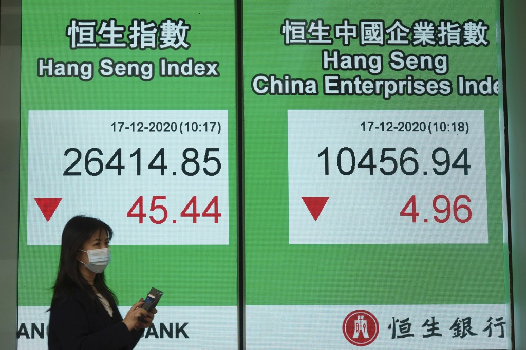 A woman wearing a face mask walks past a bank's electronic board showing the Hong Kong share index in Hong Kong, Thursday, Dec. 17, 2020. Asian shares...