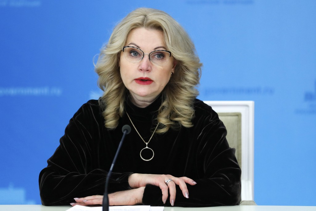 Russian Deputy Prime Minister Tatyana Golikova speaks to the media in Moscow on Thursday, Dec. 10, 2020. Kremlin officials and state-controlled media ...