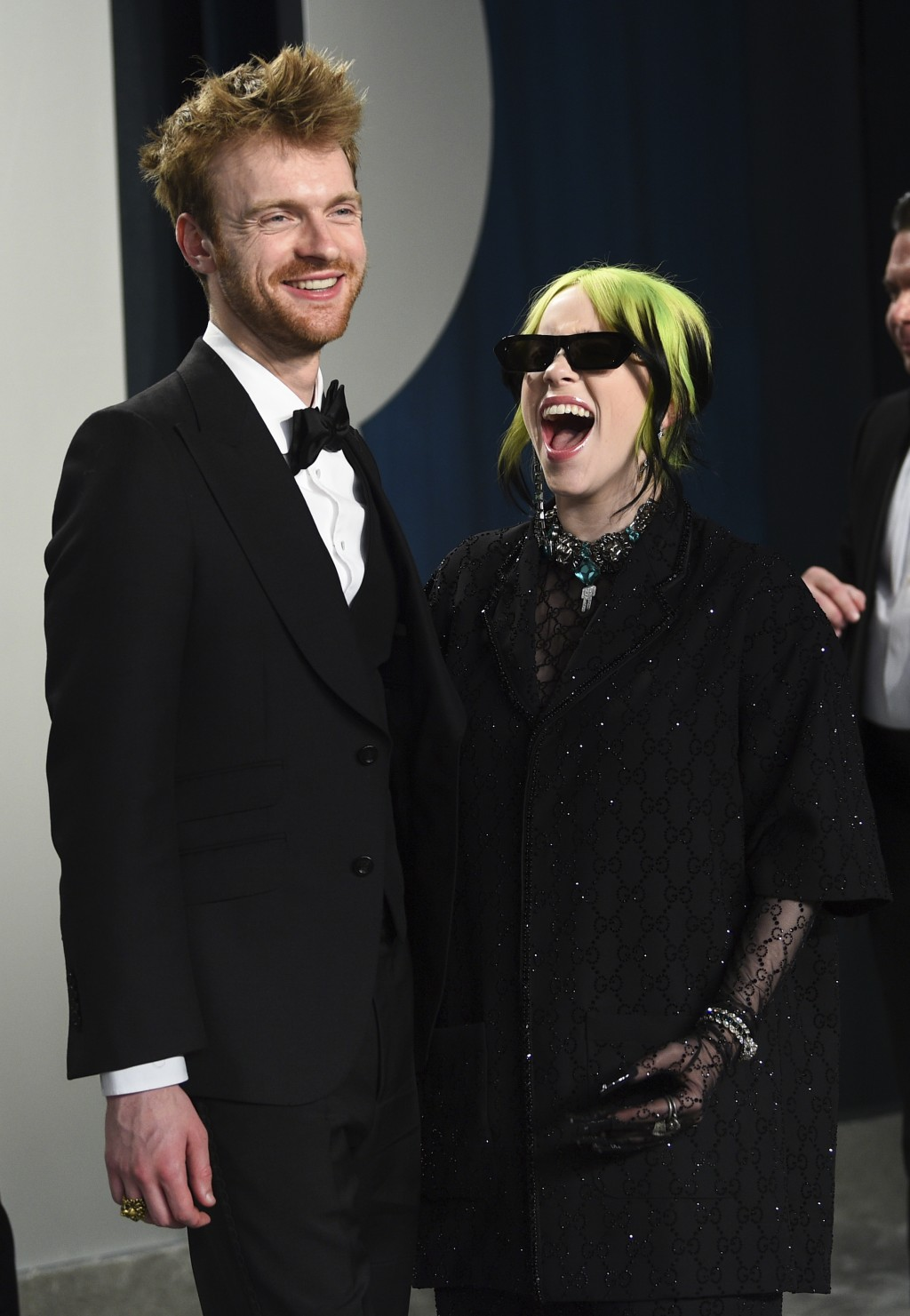 FILE - Finneas O'Connell, left and Billie Eilish arrive at the Vanity Fair Oscar Party in Beverly Hills, Calif. on Feb. 9, 2020. O'Connell has been na...
