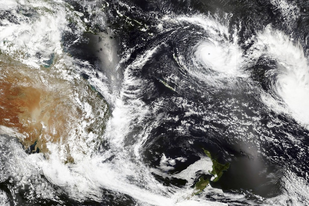 This Tuesday, Dec. 15 2020, satellite image released by NASA Worldview, Earth Observing System Data and Information System (EOSDIS) shows Cyclone Yasa...