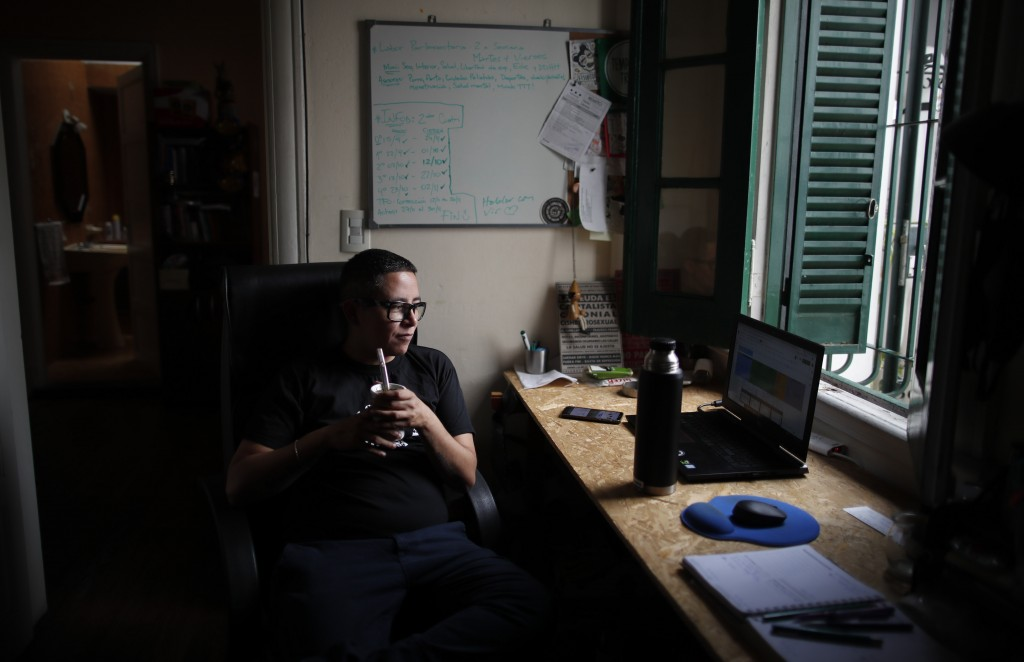 Transgender man Ese Montenegro, a transgender activist hired as an adviser to the Chamber of Deputies' women's and diversity commission, poses for a p...