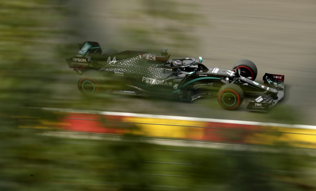 Mercedes driver Lewis Hamilton of Britain steers his car during the second practice session prior to the Formula One Grand Prix at the Spa-Francorcham...