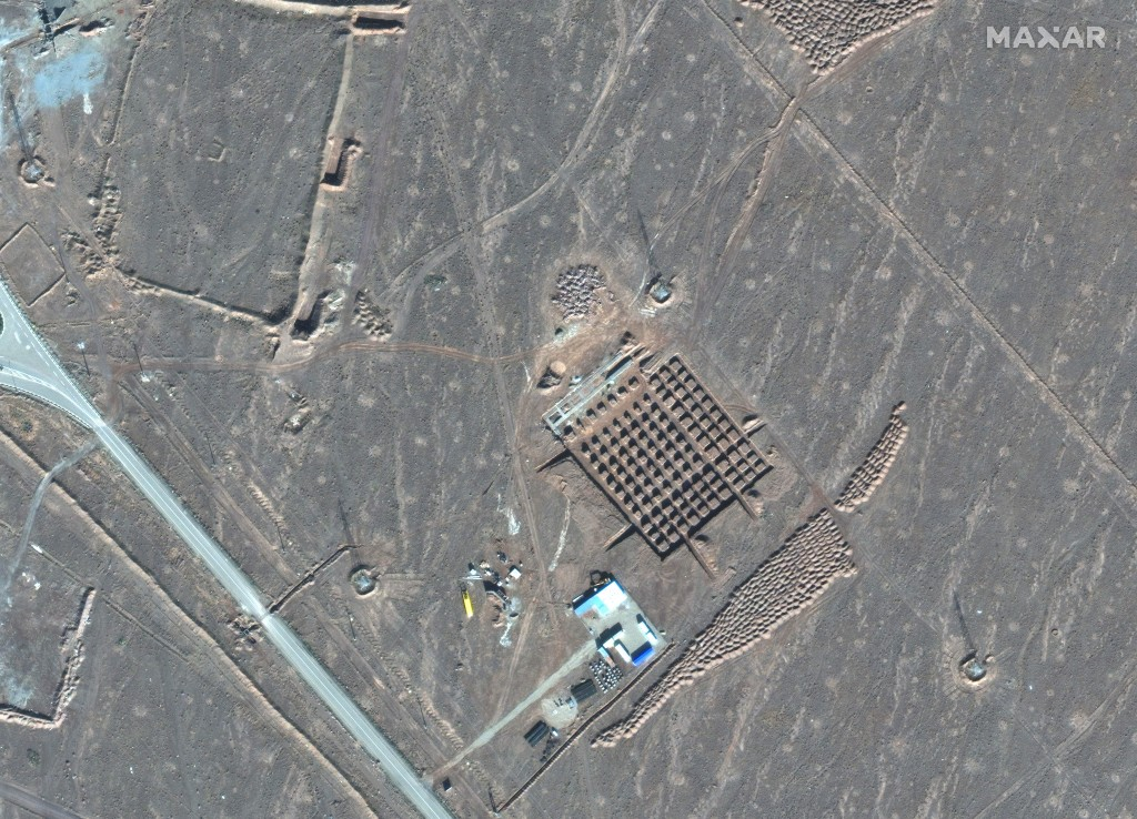 This Dec. 11, 2020, satellite photo by Maxar Technologies shows construction at Iran's Fordo nuclear facility. Iran has begun construction on a site a...