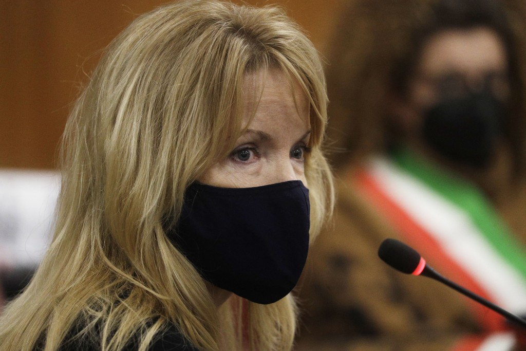 Heidi Hjorth, the mother of American tourist Gabriel Natale-Hjorth, attends a hearing in the trial in which her son is accused of killing paramilitary...