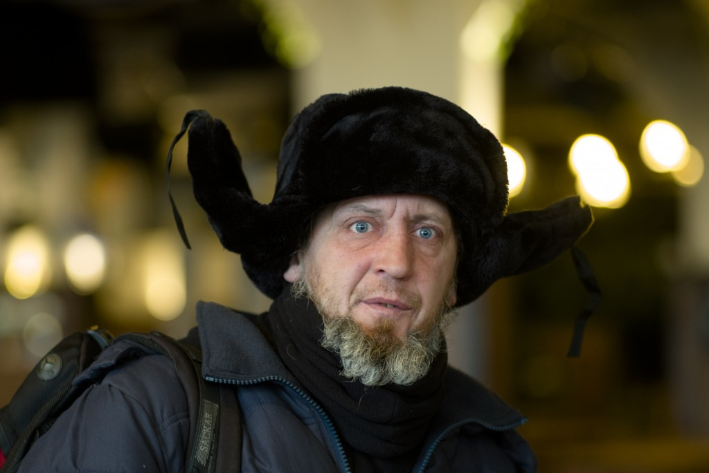 Homeless man Kaspars Breidaks from Latvia poses for a portrait during an interview with the Associated Press in guest room of Berlin's biggest restaur...