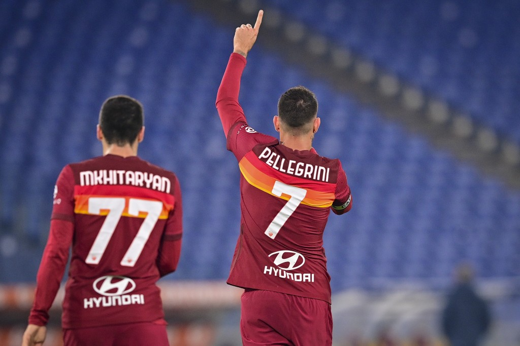 Roma's Lorenzo Pellegrini, right, celebrates after scoring during the Italian Serie A soccer match between Roma and Torino at Rome's Olympic stadium T...