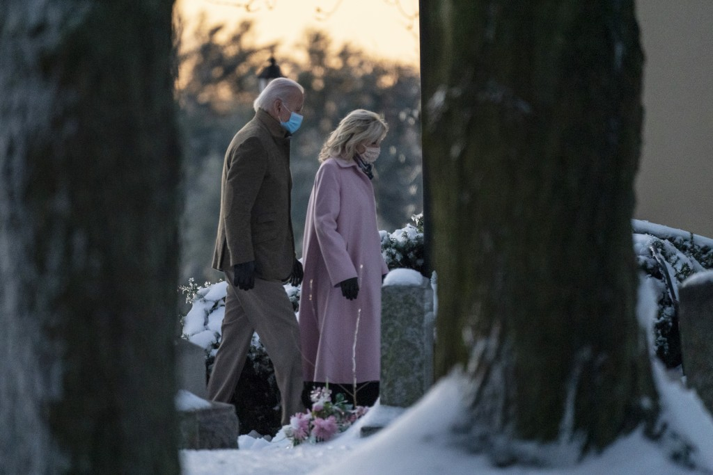 President-elect Joe Biden and his wife Jill Biden arrive at St. Joseph on the Brandywine Roman Catholic Church in Wilmington, Del., Friday, Dec. 18, 2...