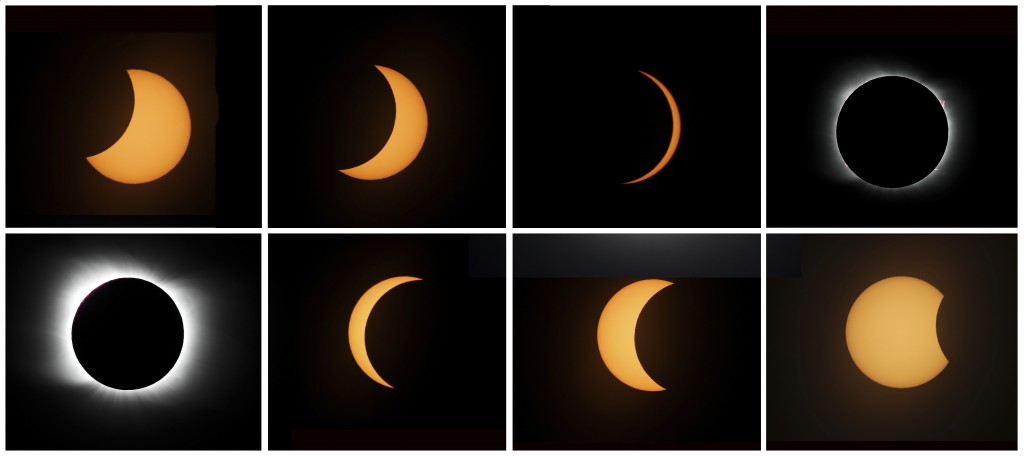 This photo combo shows the sequence of a total solar eclipse seen from Piedra del Aguila, Argentina, Monday, Dec. 14, 2020. The total solar eclipse wa...