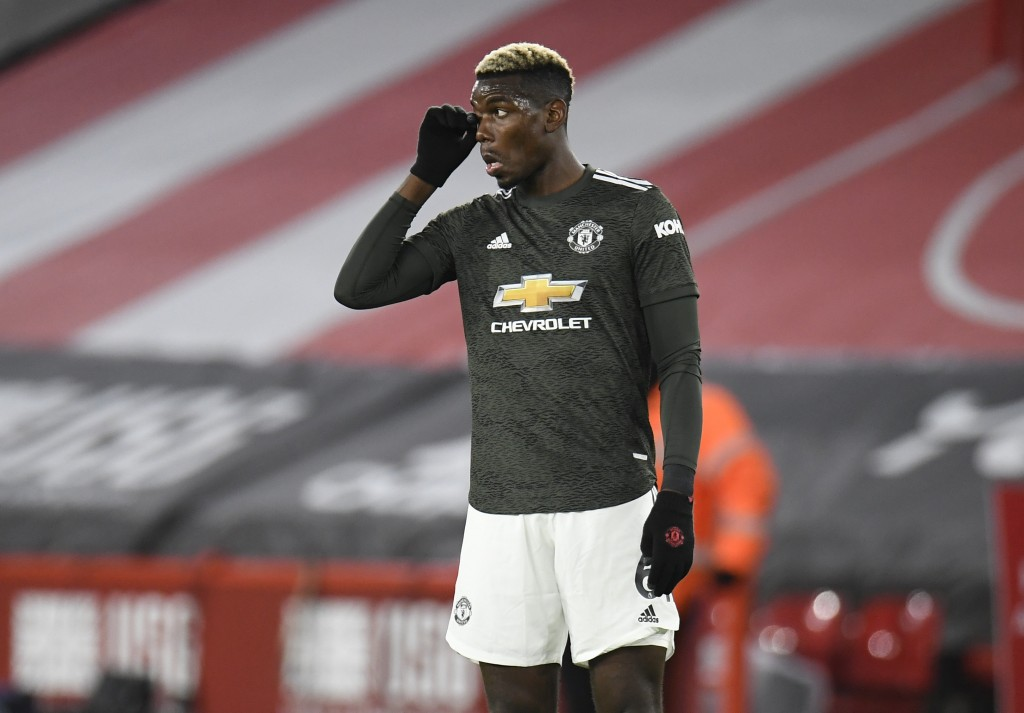 Manchester United's Paul Pogba during the English Premier League soccer match between Sheffield United and Manchester United at the Bramall Lane stadi...