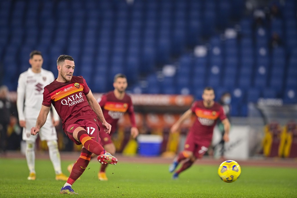 Roma's Jordan Veretout shoots to score during the Italian Serie A soccer match between Roma and Torino at Rome's Olympic stadium Thursday, Dec. 17, 20...