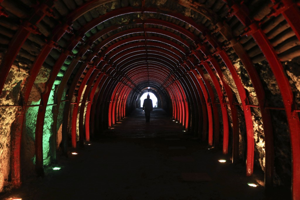 A man leaves after touring the underground, New Salt Cathedral in Zipaquira, Colombia, Wednesday, Dec. 16, 2020. Considered the First Wonder of Colomb...