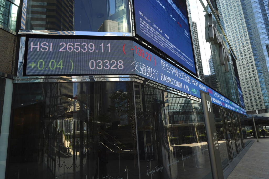 A electronic board showing the Hong Kong share index at Hong Kong Exchange Square, Friday, Dec. 18, 2020. Asian stock markets are lower after Wall Str...