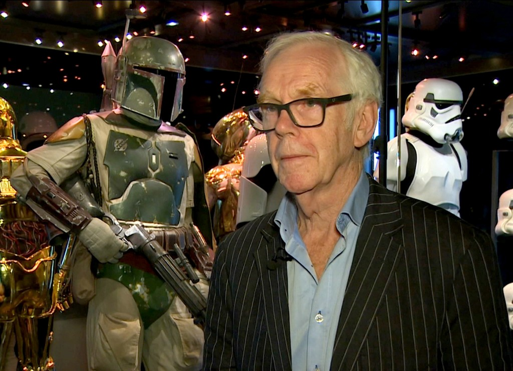 "Jeremy Bulloch speaks in front of the costume he wore while playing Boba Fett in ""Star Wars: Episode V – The Empire Strikes Back"" and ""Star Wars: Epis..."