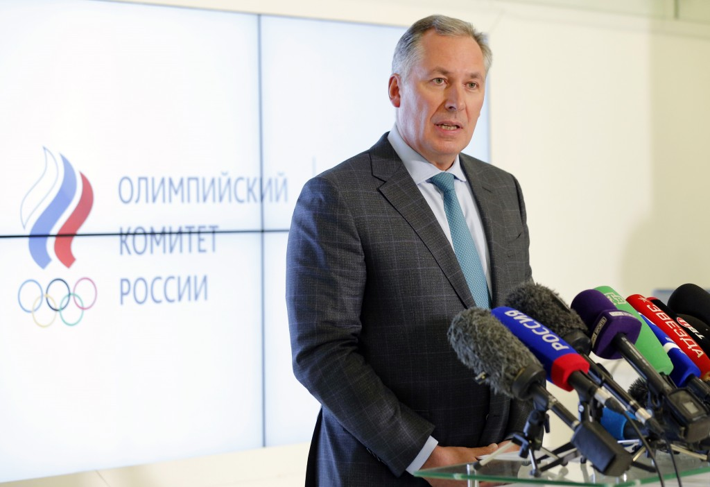 President of the Russian Olympic Committee Stanislav Pozdnyakov speaks during a news conference in Moscow, Russia, Thursday, Dec. 17, 2020. The Court ...
