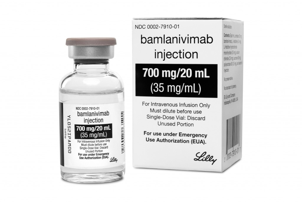 FILE - This photo provided by Eli Lilly shows the drug Bamlanivimab, the first antibody drug to help the immune system fight COVID-19. Antibodies are ...