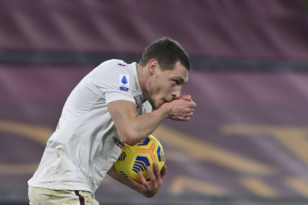 Torino's Andrea Belotti celebrates after scoring during the Italian Serie A soccer match between Roma and Torino at Rome's Olympic stadium Thursday, D...