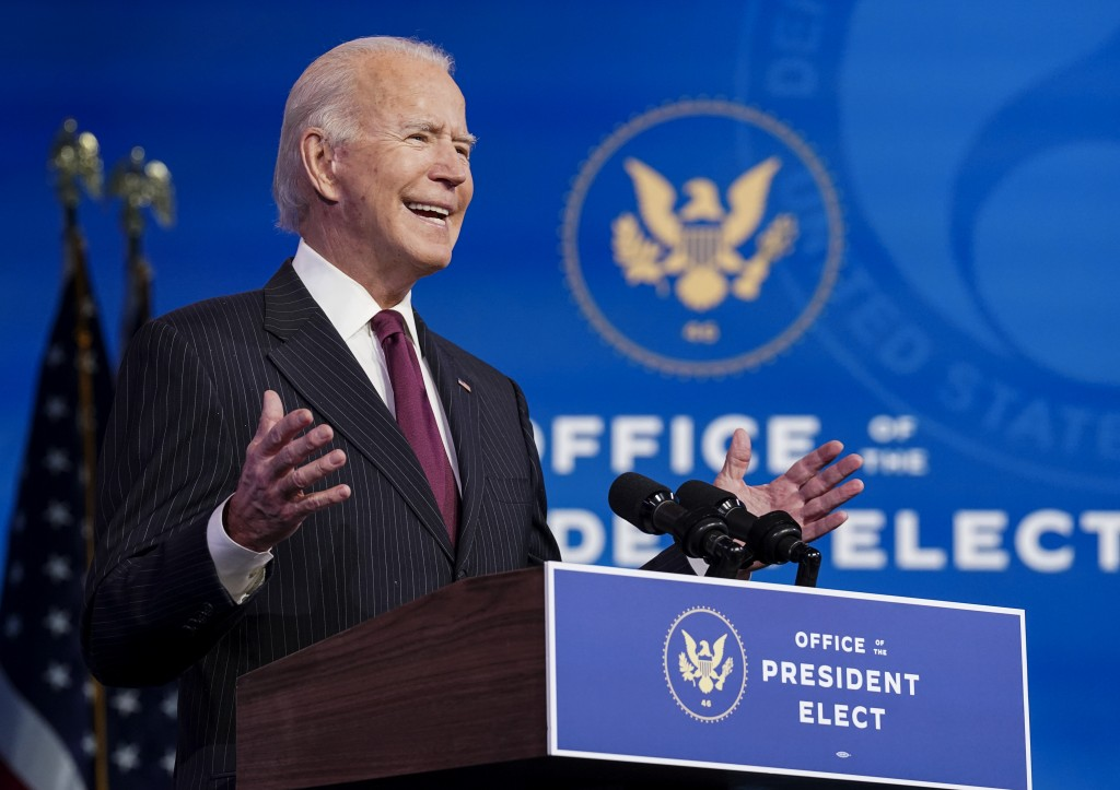 President-elect Joe Biden announces former South Bend, Ind. Mayor Pete Buttigieg as his nominee for transportation secretary during a news conference ...