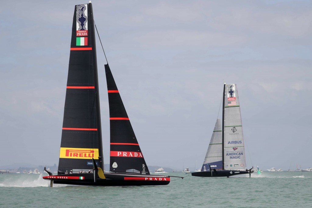 U.S. yacht American Magic, right, and Italy's Luna Rossa compete in the America's Cup World Series on the Hauraki Gulf off Auckland, New Zealand, Frid...