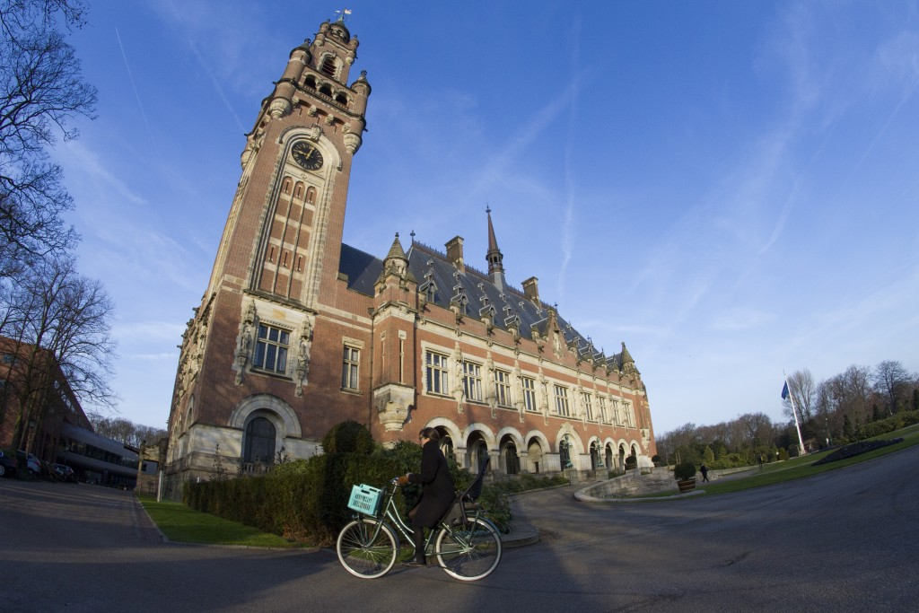 FILE- In this Monday, Feb. 18, 2019, file photo the Peace Palace, which houses the International Court of Justice, or World Court, is seen in The Hagu...