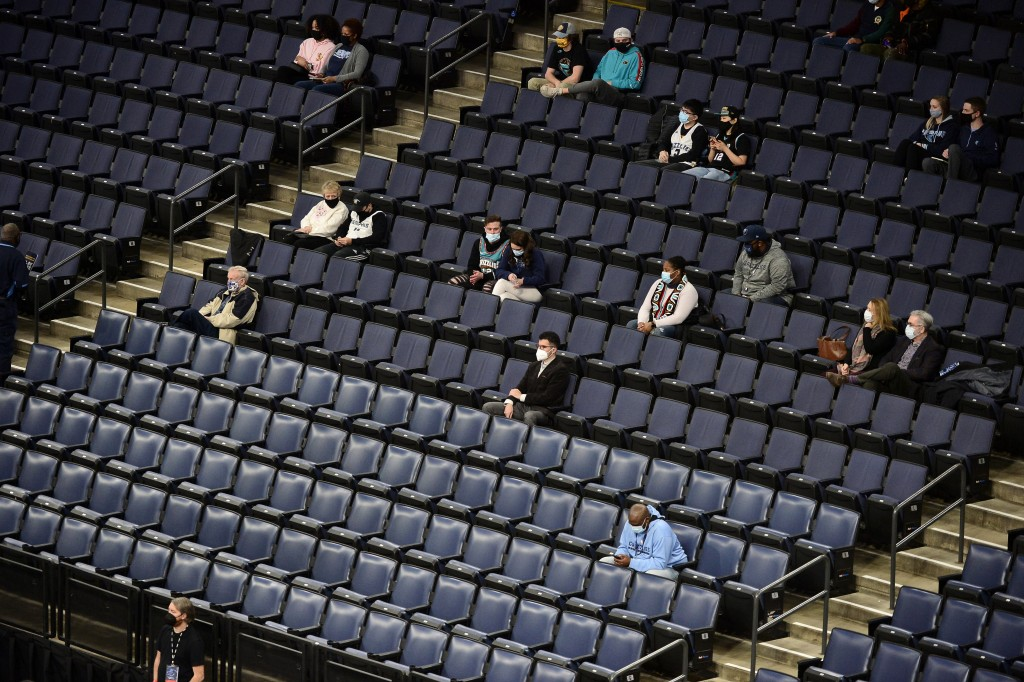 The stands inside FedExForum are mostly empty in the first half of an NBA preseason basketball game between the Atlanta Hawks and the Memphis Grizzlie...