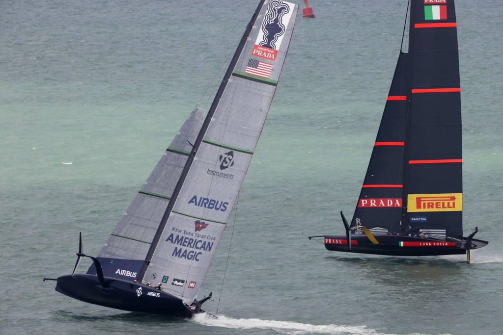 U.S. yacht American Magic, left, and Italy's Luna Rossa compete in the America's Cup World Series on the Hauraki Gulf off Auckland, New Zealand, Frida...