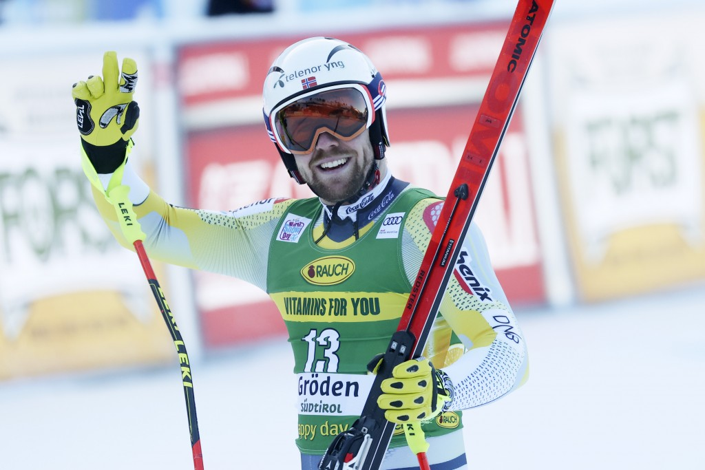 Norway's Aleksander Aamodt Kilde arrives at the finish area during an alpine ski, men's World Cup super-G, in Val Gardena, Italy, Friday, Dec. 18, 202...