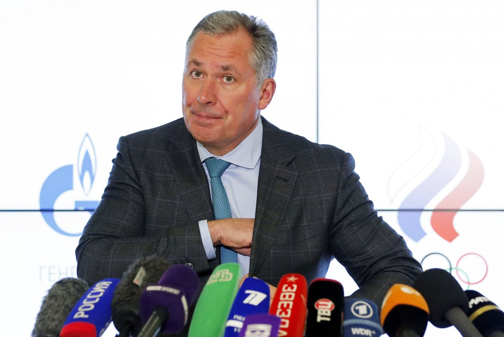President of the Russian Olympic Committee Stanislav Pozdnyakov attends a news conference in Moscow, Russia, Thursday, Dec. 17, 2020. The Court of Arb...