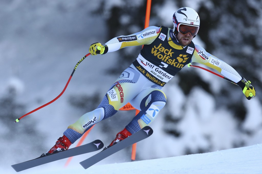 Norway's Aleksander Aamodt Kilde speeds down the course of an alpine ski men's World Cup downhill in Val Gardena, Italy, Saturday, Dec. 19, 2020. (AP ...