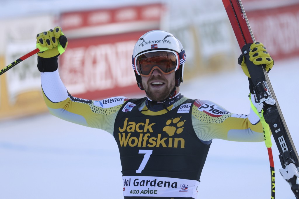 Norway's Aleksander Aamodt Kilde reacts after winning an alpine ski men's World Cup downhill in Val Gardena, Italy, Saturday, Dec. 19, 2020. (AP Photo...