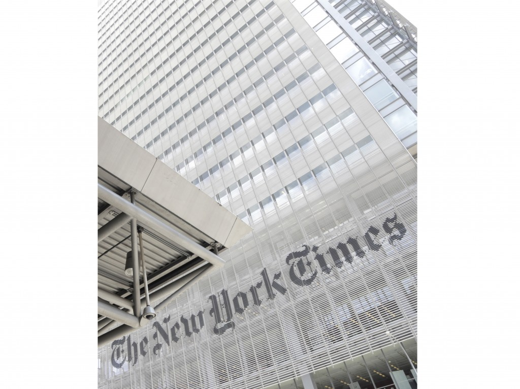 FILE - This June 22, 2019 file photo shows the exterior of the New York Times building in New York. The New York Times says it was wrong to trust the ...