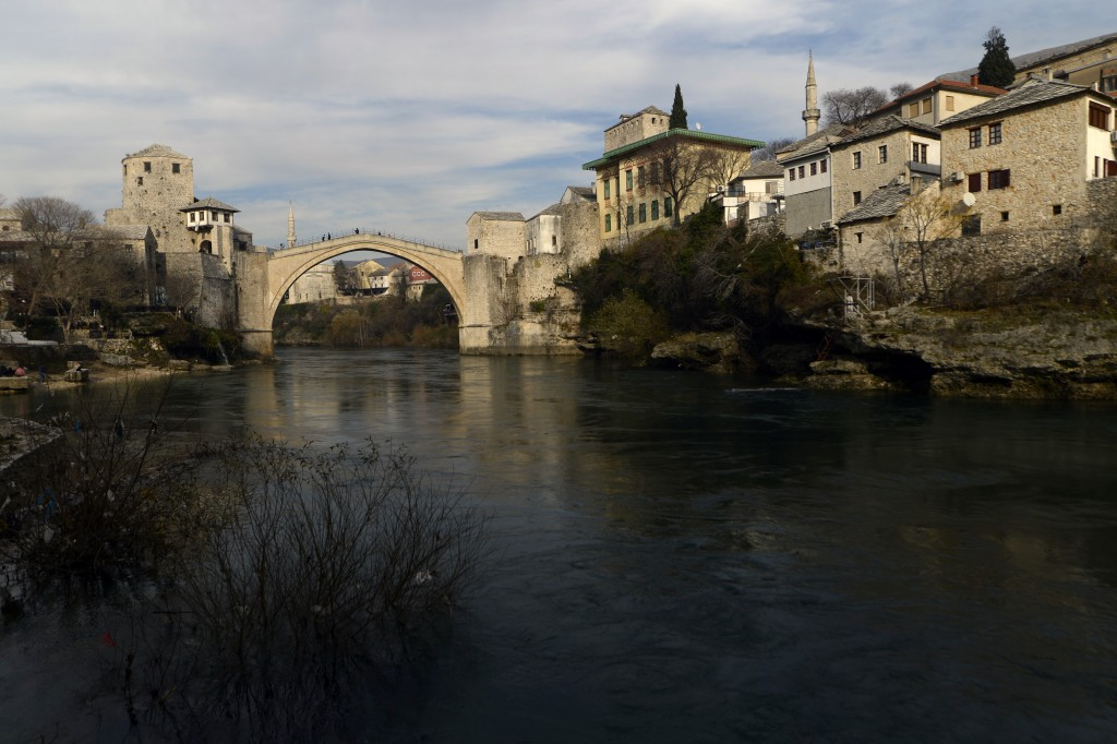 The Old Bridge in Mostar, one of Bosnia's best known landmarks, Bosnia, is seen Friday, Dec. 18, 2020. Bosnia's ethnically divided southern city of Mo...