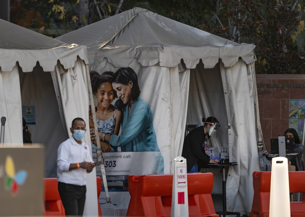 Medical tents for vaccinations are set outside the Children's Hospital Los Angeles Friday, Dec. 18, 2020. Increasingly desperate California hospitals ...
